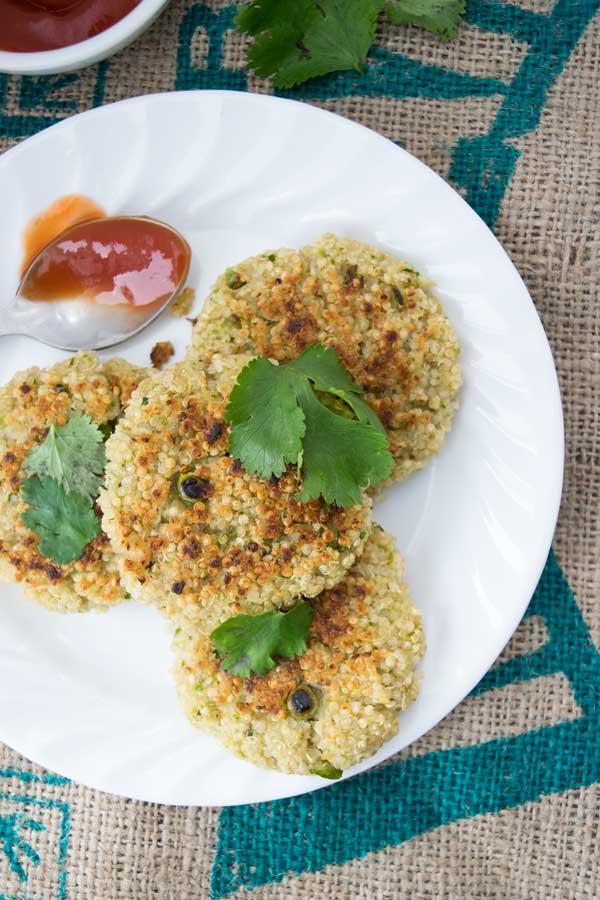 spiced quinoa pattie ready