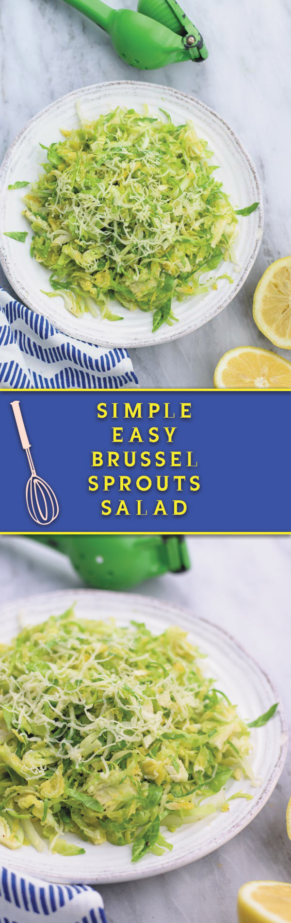 simple easy brussel sprouts salad - a REALLY simple yet ADDICTING crunchy brussel sprouts salad with tangy lemon juice vinaigrette and gruyere!