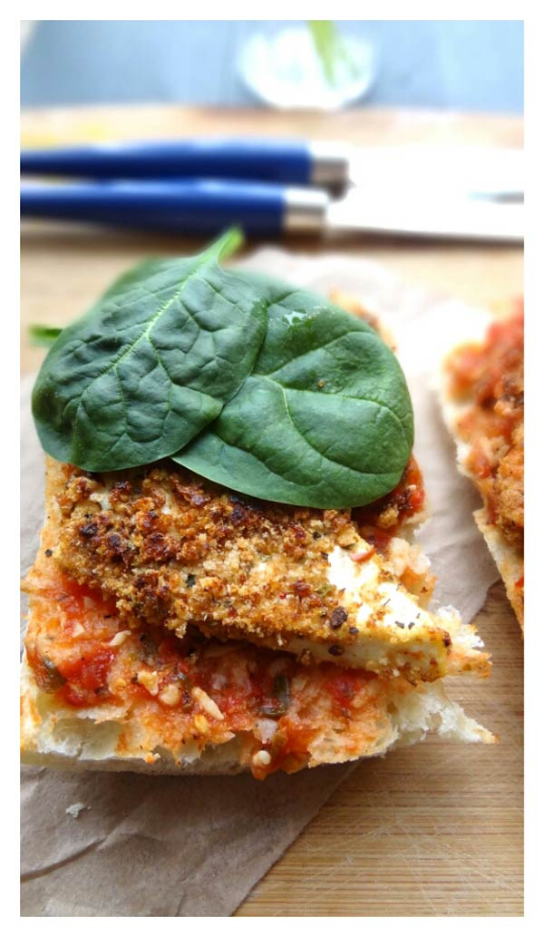 crusted tofu and spinach subs