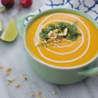 Thai Squash Soup - a delicious comfort soup made in slow cooker, made with just 8 ingredients. Healthy comforting soup!