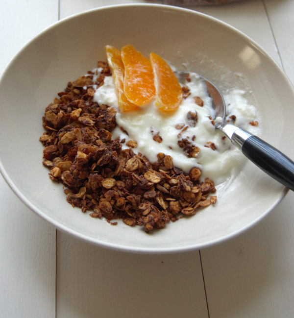 Almond Chocolate Granola with Yogurt and Oranges
