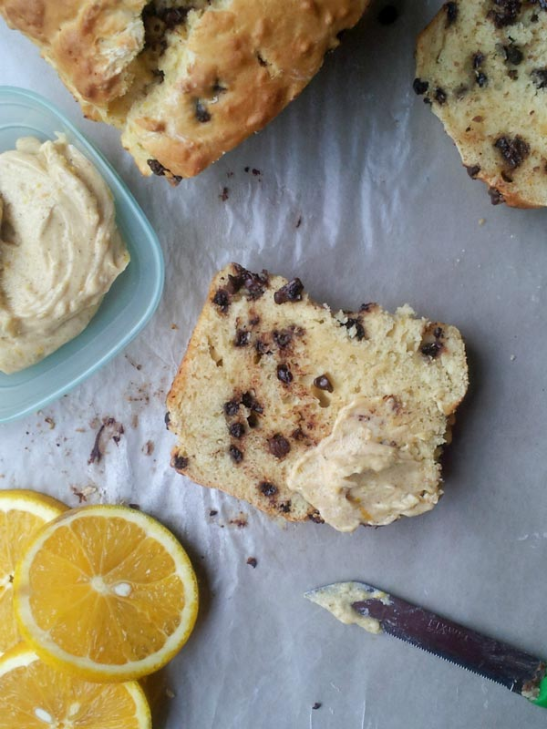 Chocolate Chip Orange Bread with Orange Butter