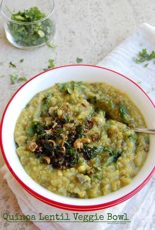 quinoa lentil veggie bowl