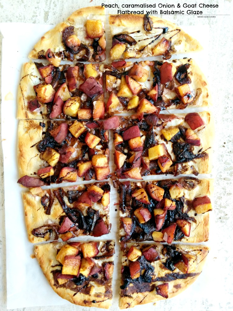 Peach, Caramelised Onion & Goat Cheese Flatbread
