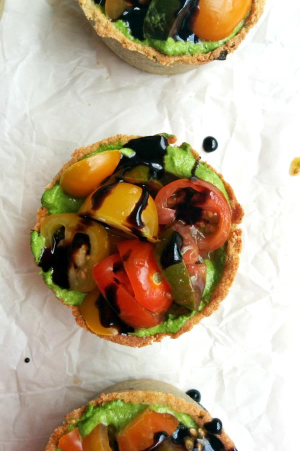 Balsamic Glaze on Quinoa Heirloom Tomato Tart