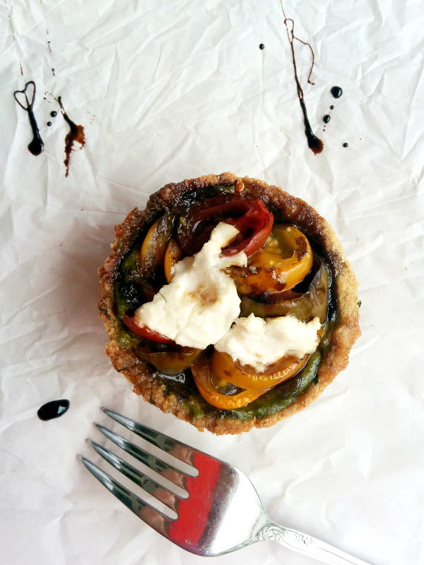 Goat Cheese on Quinoa Heirloom Tomato Tart