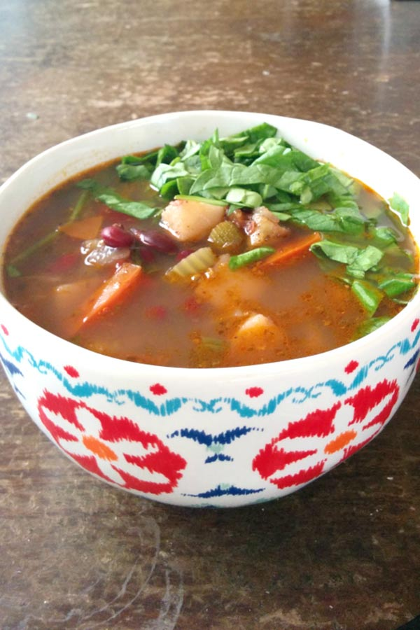 Bowl of Spinach Minestrone Soup