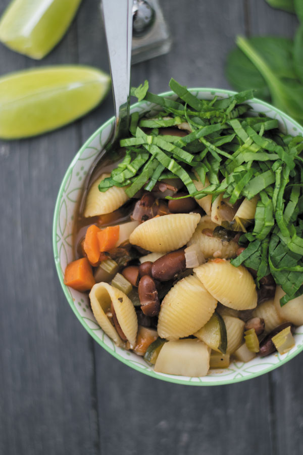 Healthy minestrone soup with spinach