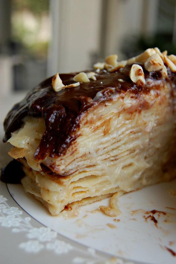Heavenly Slice of Chocolate Hazelnut Crepe Cake