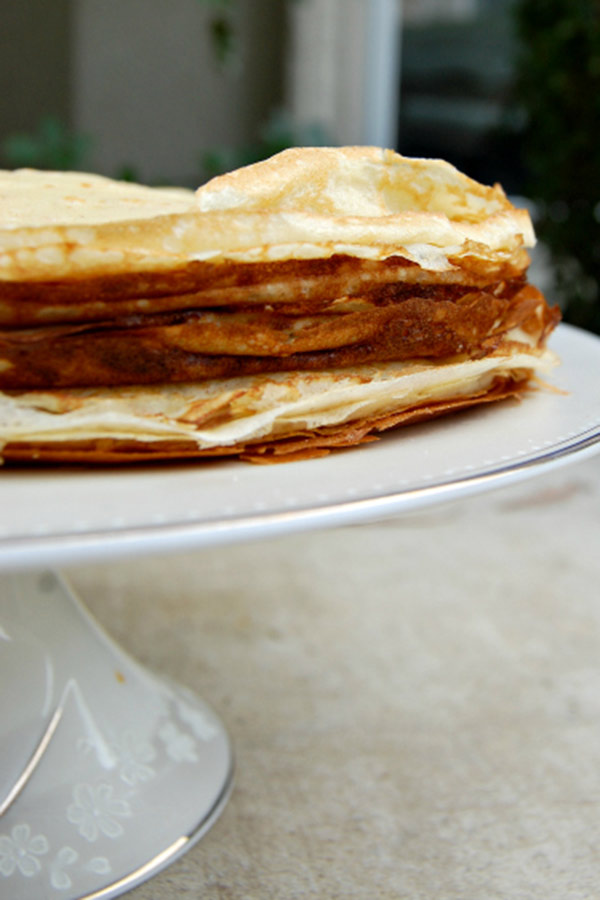 Layers of Crepes Ready to Become a Cake