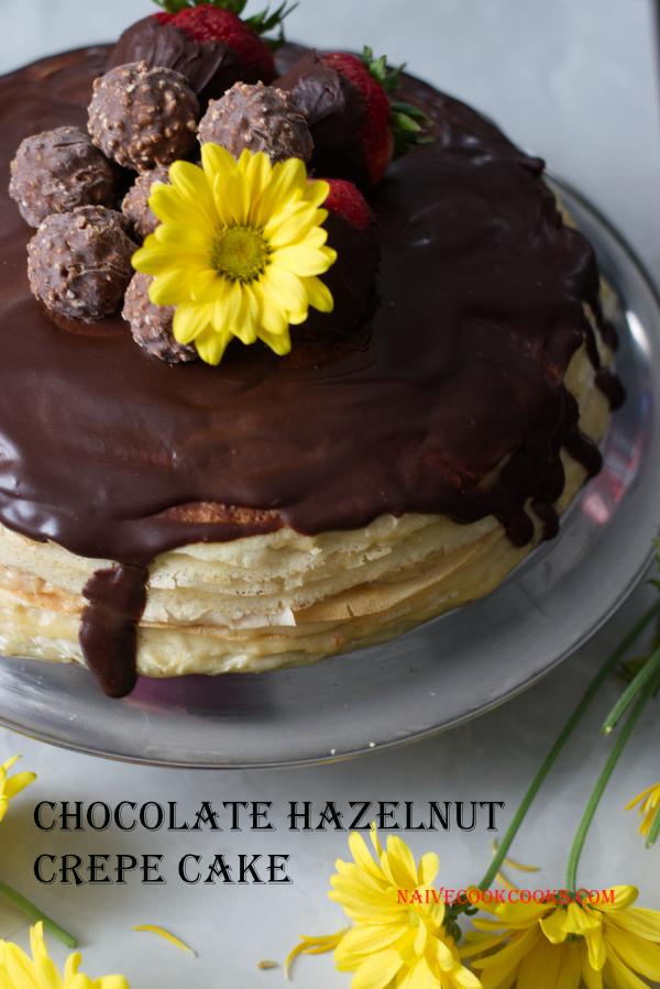 chocolate hazelnut crepe cake layered cake