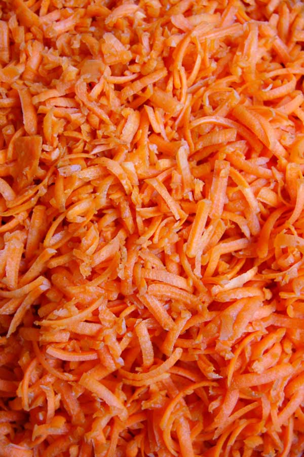 Shredded Carrots for Boozy Carrot Halwa