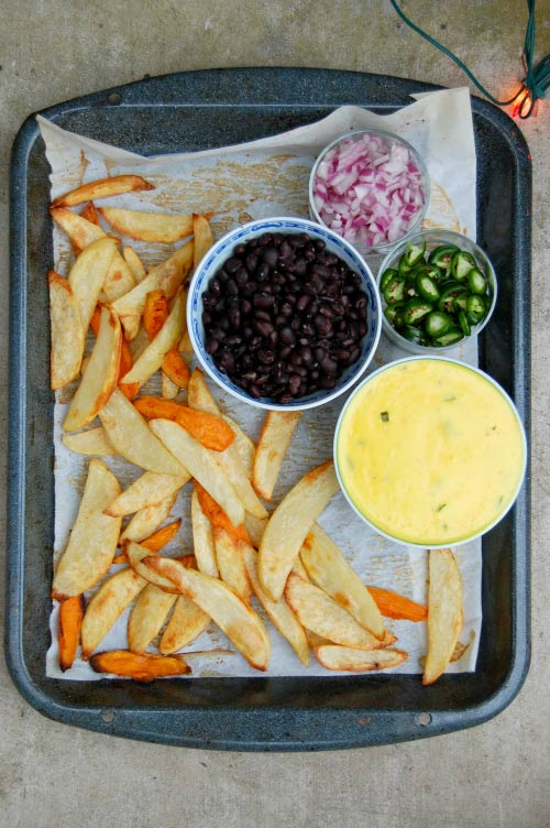 Ingredients for Baked Nacho Fries.