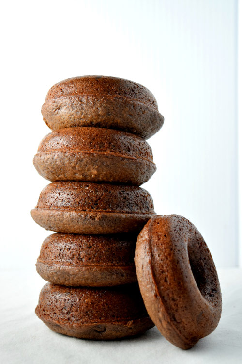 Baked Chocolate Fudge Cake Donuts stacked