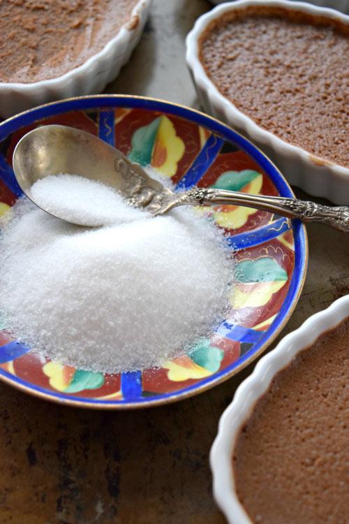 Bowl of sugar for 5 Ingredient Chocolate Creme Brulee 1