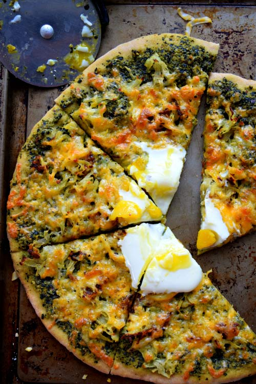 Hashbrown Breakfast Pizza with Kale Pesto Pie