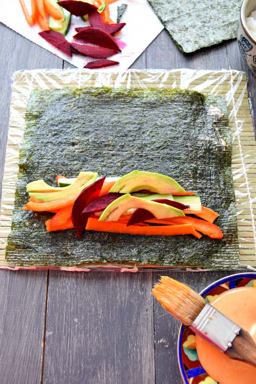 How to Make Spicy Mayo Vegetable Sushi Step 4