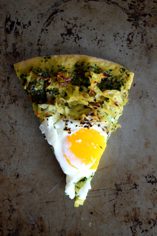 Slice of Hashbrown Breakfast Pizza with Kale Pesto