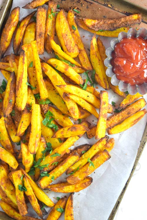 Make Oven Baked Fries Served with Ketchup