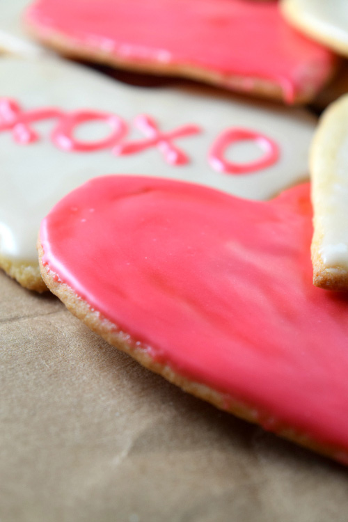 Conversation Heart Shaped Sugar Cookies with Pink Icing