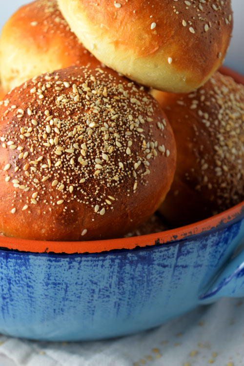 Everything Brioche Burger Buns in a Bowl