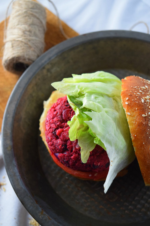 Now that is a Veggie Patty for SSmashed Beet Bean Burger
