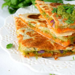 Roasted Sweet Potato Quesadilla With Chutney