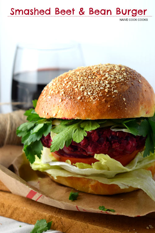 Smashed Beet Bean Burger Main