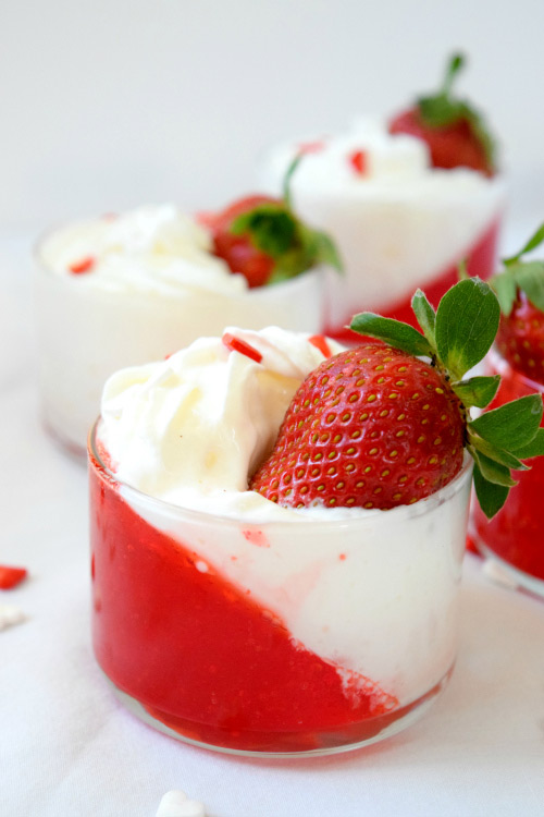 Strawberry Jello Parfaits Ready for Dessert