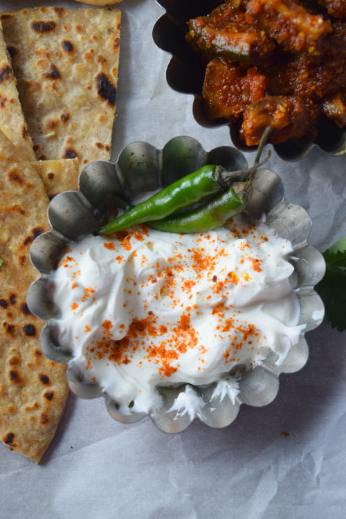 Yogurt for Paneer Parantha (Indian Cheese Stuffed Flatbread)