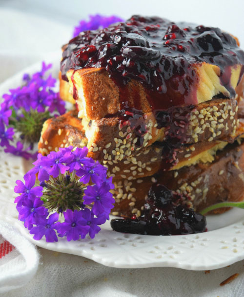 Chocolate Peanut Butter French Toast with Wild Berry Jelly for Breakfast