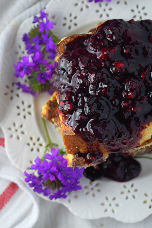 Chocolate Peanut Butter French Toast with Wild Berry
