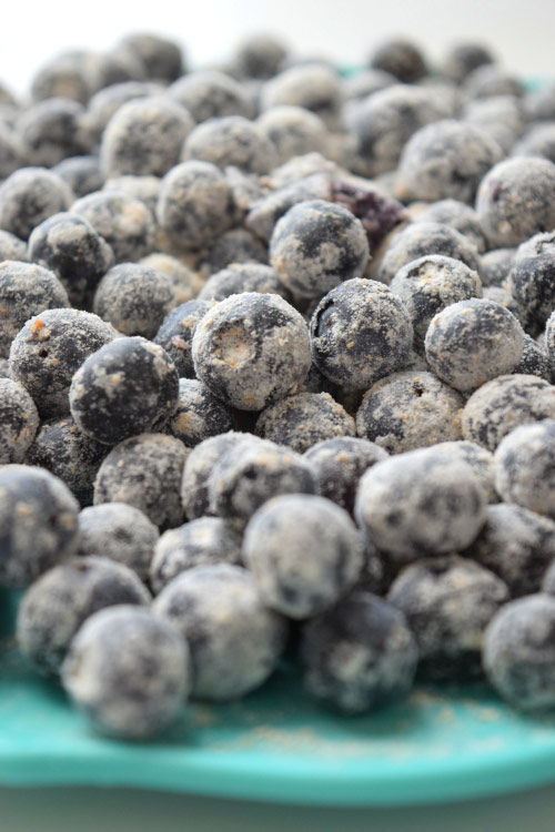 Frozen Fresh Blueberries for Skinny Whole Wheat Blueberry Muffins