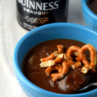 Guinness Chocolate Pudding with Pretzels