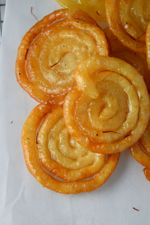 Jalebi (Indian Funnel Cake) with Saffron Syrup