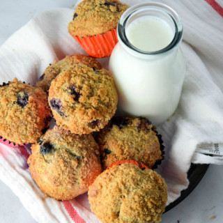 Skinny Whole Wheat Blueberry Muffins
