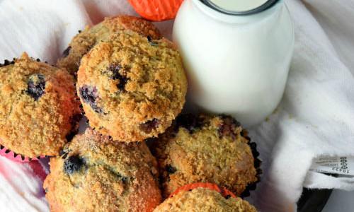 Skinny Whole Wheat Blueberry Muffins