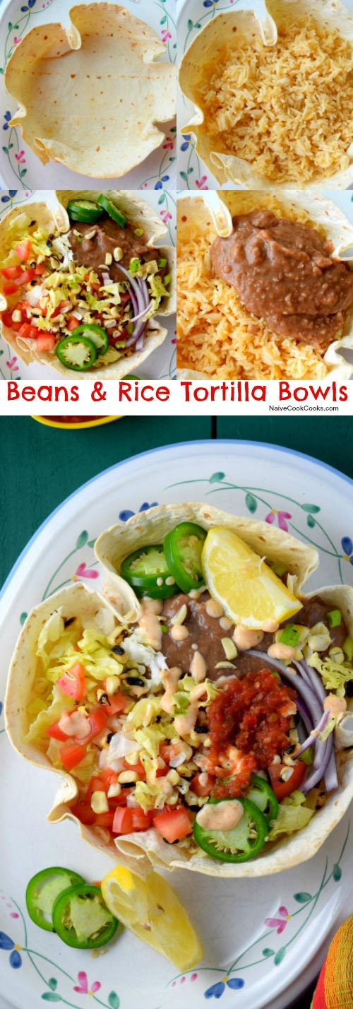 Beans & Rice Tortilla Bowls for Pinterest