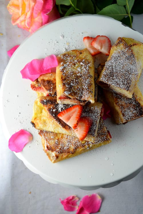 Breakfast time for Chocolate Strawberry Cheesecake Tortilla French Toast