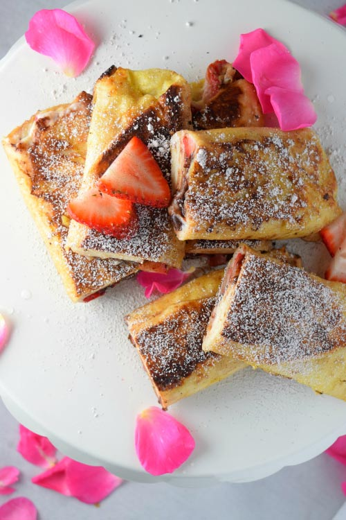 Chocolate Strawberry Cheesecake Tortilla French Toast Ready for Breakfast
