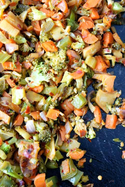 Chopped Veggies for Thai Veggie Enchiladas