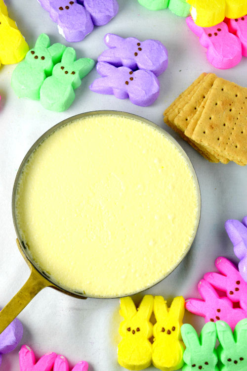 Coconut Peeps S'more Creme Brulee Ready for Graham Cracker Crust