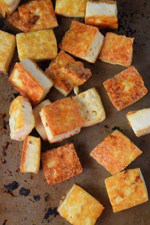 Cripsy Tofu for Easy Asparagus and Tofu Noodles