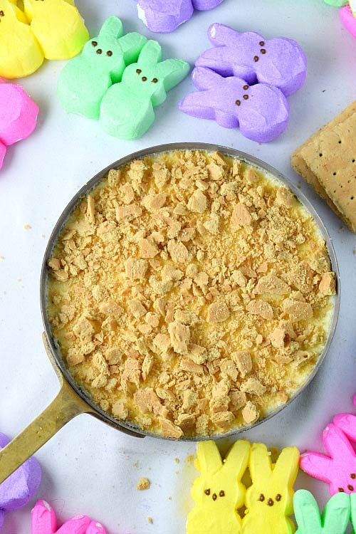 Graham Cracker crust of Coconut Peeps S'more Creme Brulee 1
