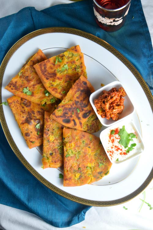 Peas & Corn Stuffed Parantha with Condiments