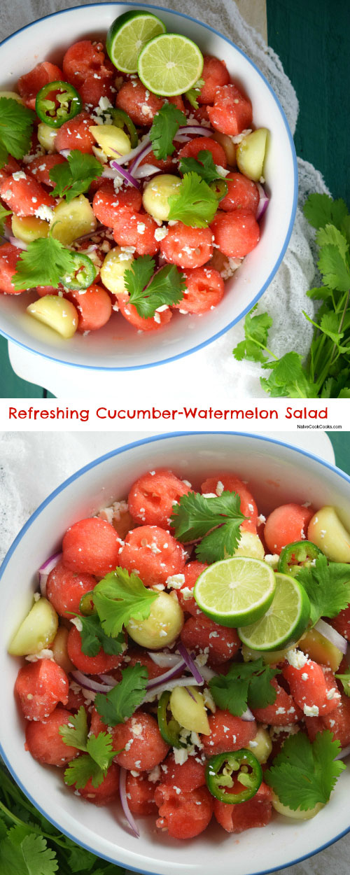 Refreshing Cucumber-Watermelon Salad for Pinterest