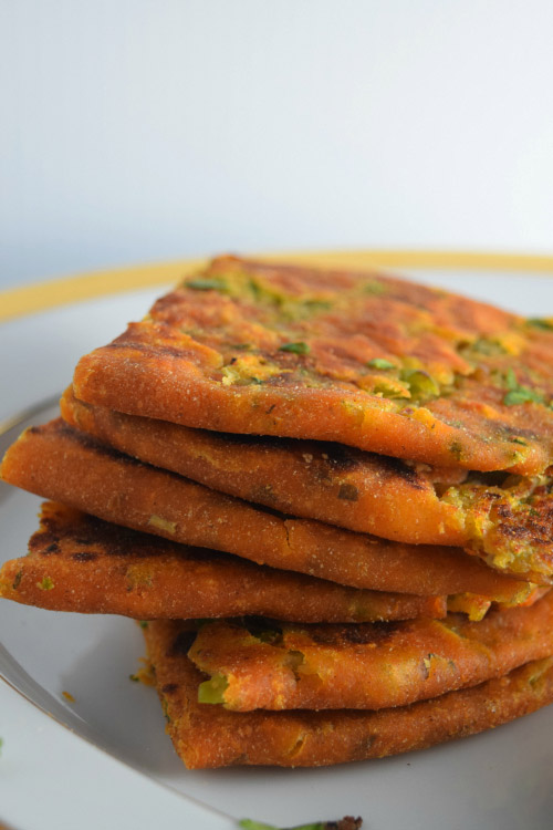 Stack of Peas & Corn Stuffed Parantha