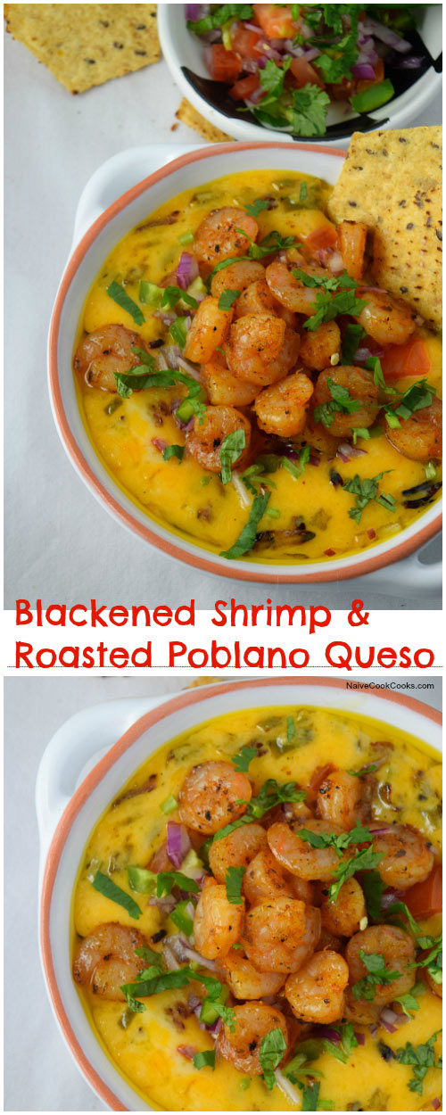 Blackened Shrimp & Roasted Poblano Queso for Pinterest