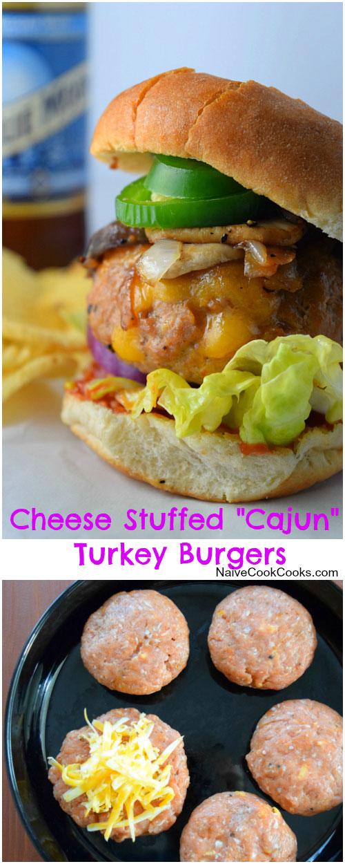 Cheese Stuffed Cajun Turkey Burgers for Pinterest
