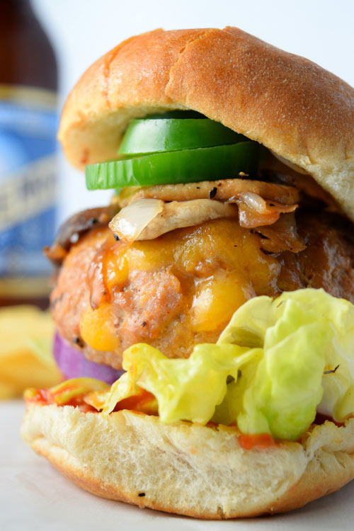 Mouth Watering Cheese Stuffed Cajun Turkey Burgers